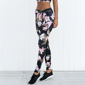 2019 Sport Leggings High Waist Compression Pants Gym Clothes Sexy Running Floral Print Women Fitness Floral Pants image