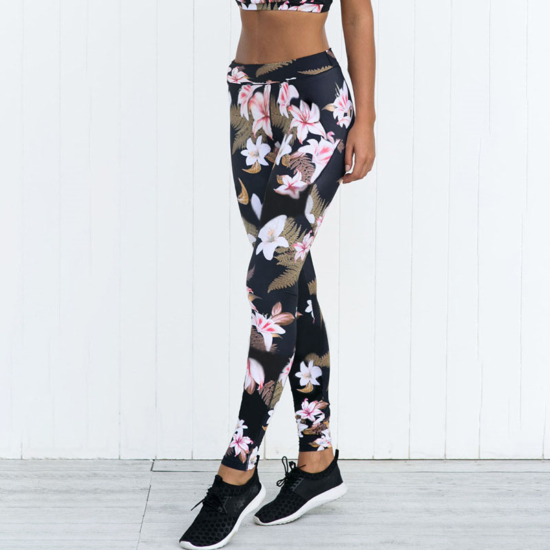 2019 Sport   Leggings   High Waist Compression Pants Gym Clothes Sexy Running Floral Print Women Fitness Floral Pants