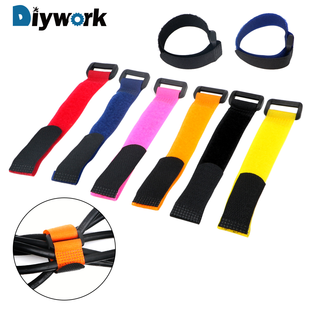 10 Piece/set 2*20cm Self Adhesive Reusable Cable Tie Wire Organizer Multifunction Nylon Fastener Hook And Loop Strap Cord Ties