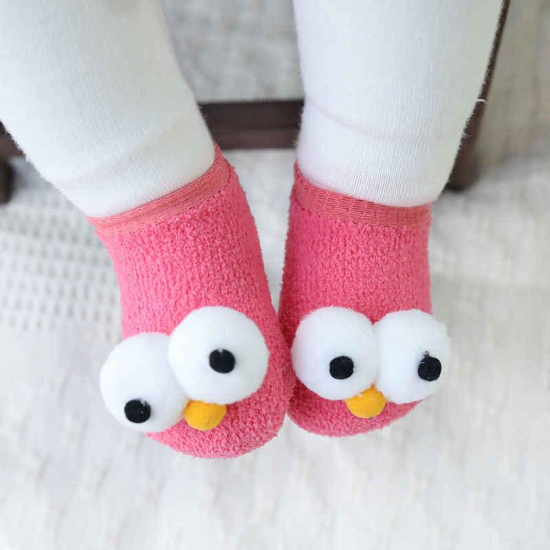 2018 Brand New śliczne noworodka dzieci dziewczynek chłopców skarpetki wielkie oczy 6 kolory Cartoon bawełna zimowe ciepłe skarpetki strój 0-3Y