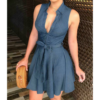 Women's Button Denim Mini Dress