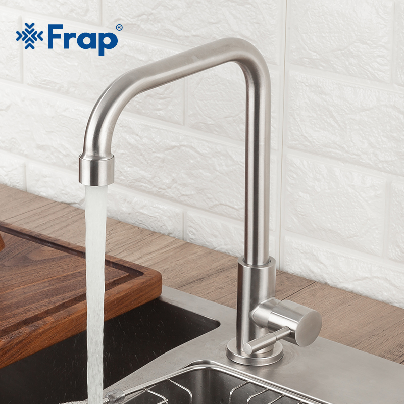 Frap Kitchen Faucet 304 Stainless Steel Single Cold Water Tap Faucet Sink Tap 360 Degree Rotatio Cold Water Single Cold Faucet