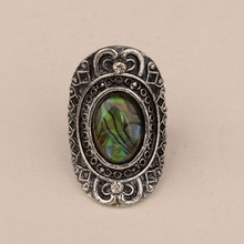 Gorgeous Big Oval Resizable Cocktail Rings For Women Natural Abalone Shell Vintage Party Ring Fashion Jewelry gorgeous artificial crystals rhinestones oval necklace for women