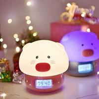 USB Charging Pat Led Night Light Temperature Remote Control Easy Setting Decorative Alarm Clock Cartoon Pig Recording lamp #0111