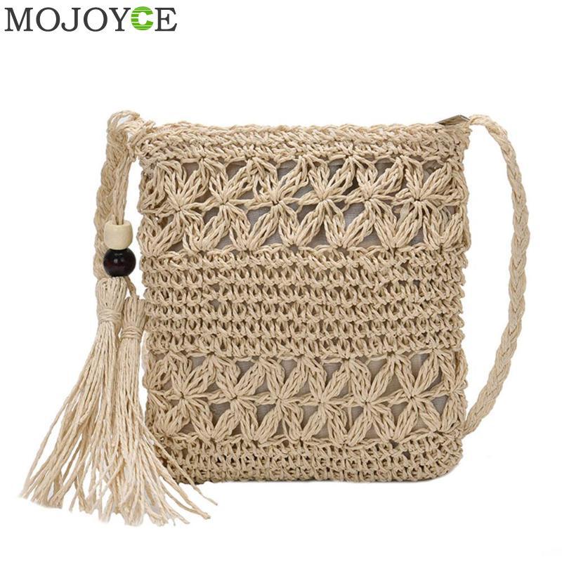 Женские сумки-мессенджеры, плетеная Сумка через плечо с вырезами, Повседневная пляжная соломенная сумка с кисточками для женщин, женская су...