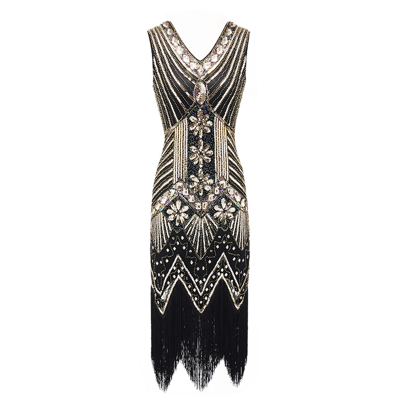 S-4XL Plus Size Women's Fashion 1920s Flapper Dress Vintage Great Gatsby Charleston Sequin Tassel 20s Party Dress
