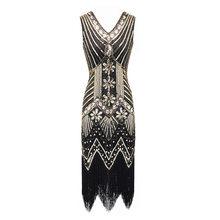 S-4XL plus size moda feminina 1920s flapper vestido vintage great gatsby charleston lantejoulas borla 20s vestido de festa