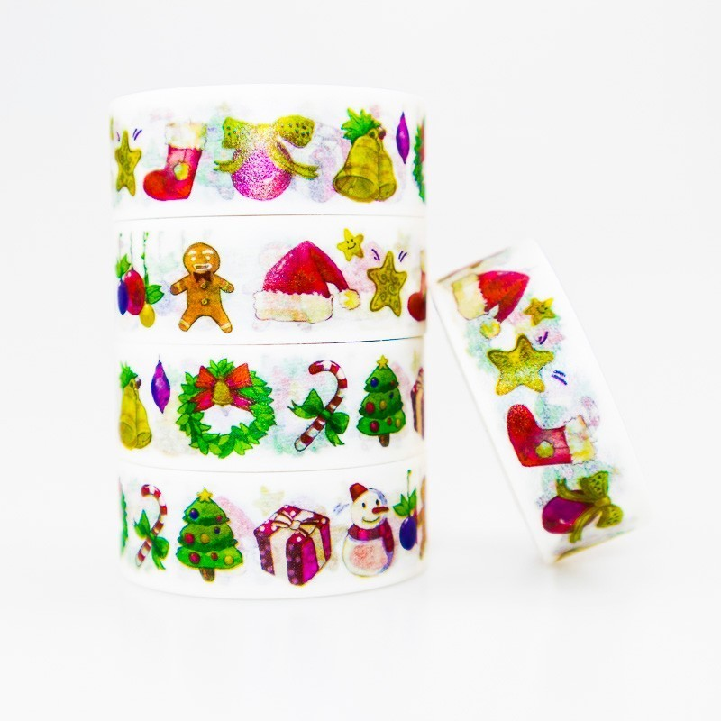 Christmas Item Pattern Washi Masking Tape Sticky Color Decorative Tape Set DIY Decoration Office Stationery Scrapbook 1PCS