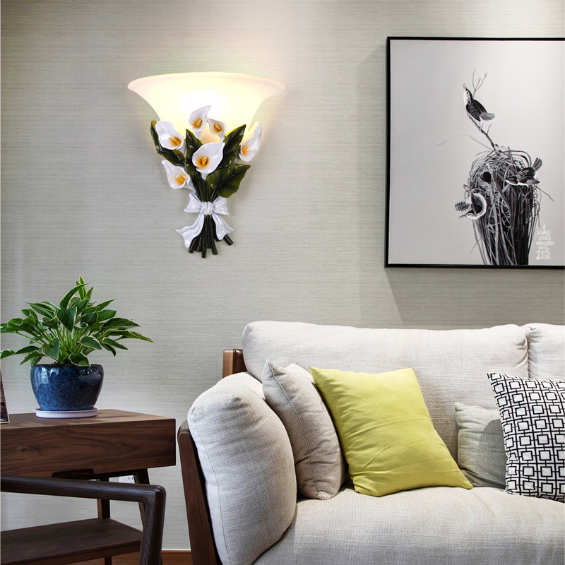 Modern Wall Lamps Gold LED Flower LED Wall Sconce Bedroom Wall Lights Frosted Glass Interior Decoration Hanging Lamps Luminaire