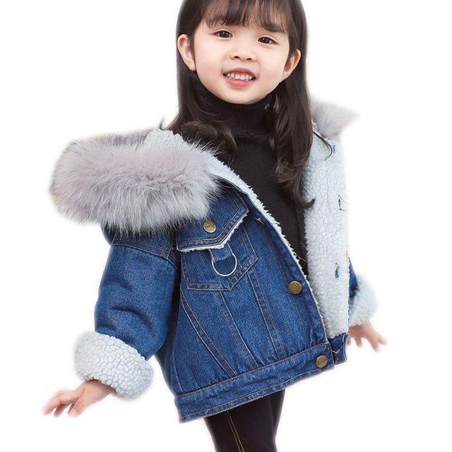 2c6b75c5e Children s Clothing Winter Baby Girl Cartoon Plus Velvet Denim ...