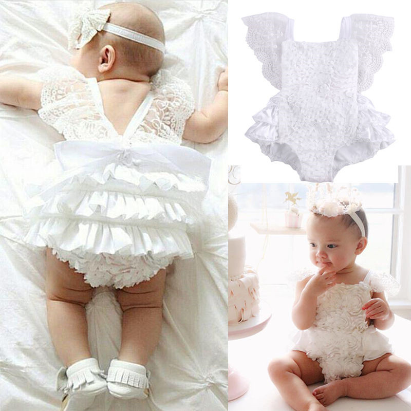 Emmababy Baby Girls Clothes Romper Lace Ruffles Short Sleeve Sunsuit Jumpsuit Outfits Clothes