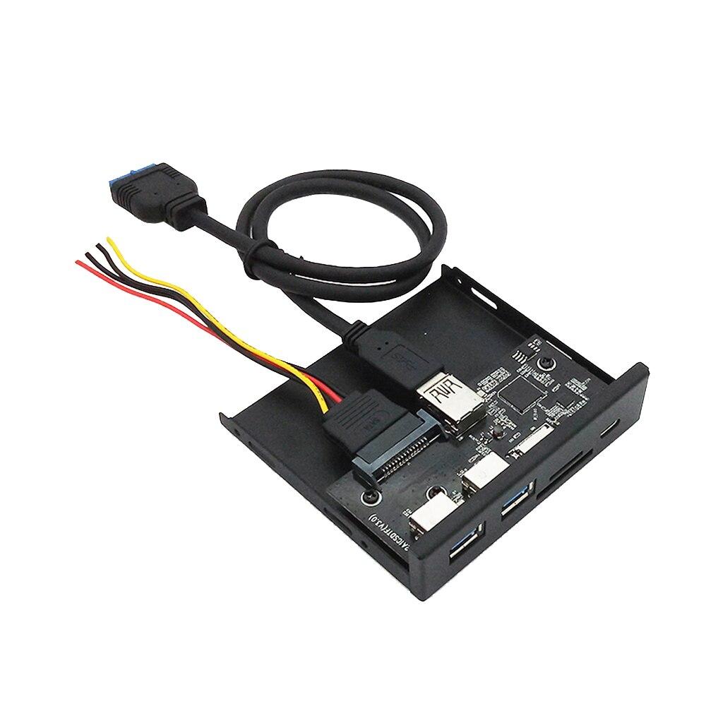 33S50-Rtk 3 en 1 lector de tarjeta Pc Panel frontal tipo de medios-C Dual Puerto Usb 3,0 Hub Salpicadero con cable de alimentación Usb Tf tarjeta Sd Reade