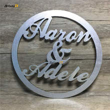Custom Personalized Name Wedding Circle Sign PhotoBooth Hoop Style Wooden Hanging Signs Rustic Decoration Wood Photo Booth Props