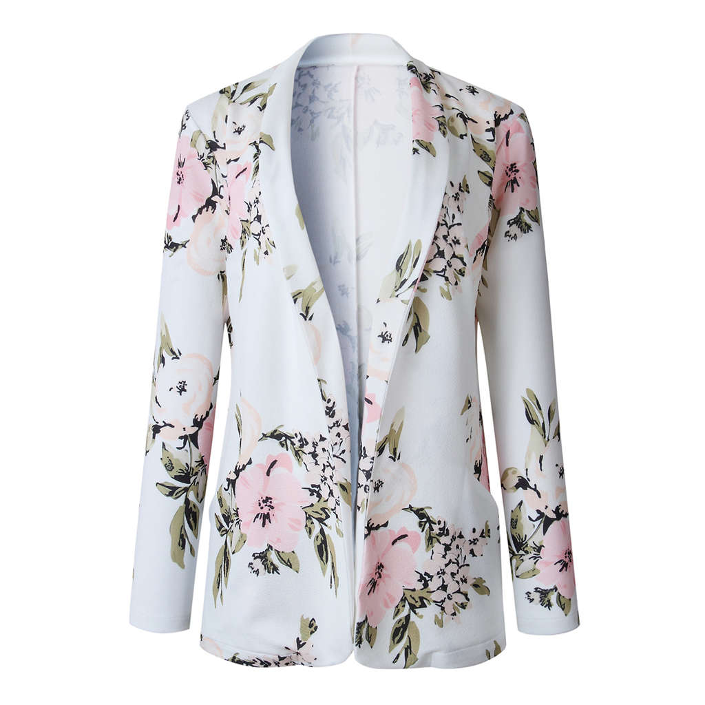 Women Elegant Long Sleeve Lapel Floral Print Slim Blazer Thin Jacket Coat Ladies Casual Solid Color OL Front Open Cardigan Out