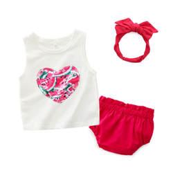 Комплект одежды для новорожденных девочек, майка без рукавов, топы с цветочным принтом, шорты с бантом, комбинезон, летний хлопковый