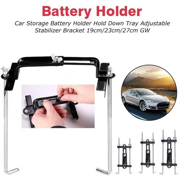 Universal Metal Adjustable Battery Holder Stabilizer Mount Storage Rack Fixed Bracket Stand Automobile Car 19/23/27CM