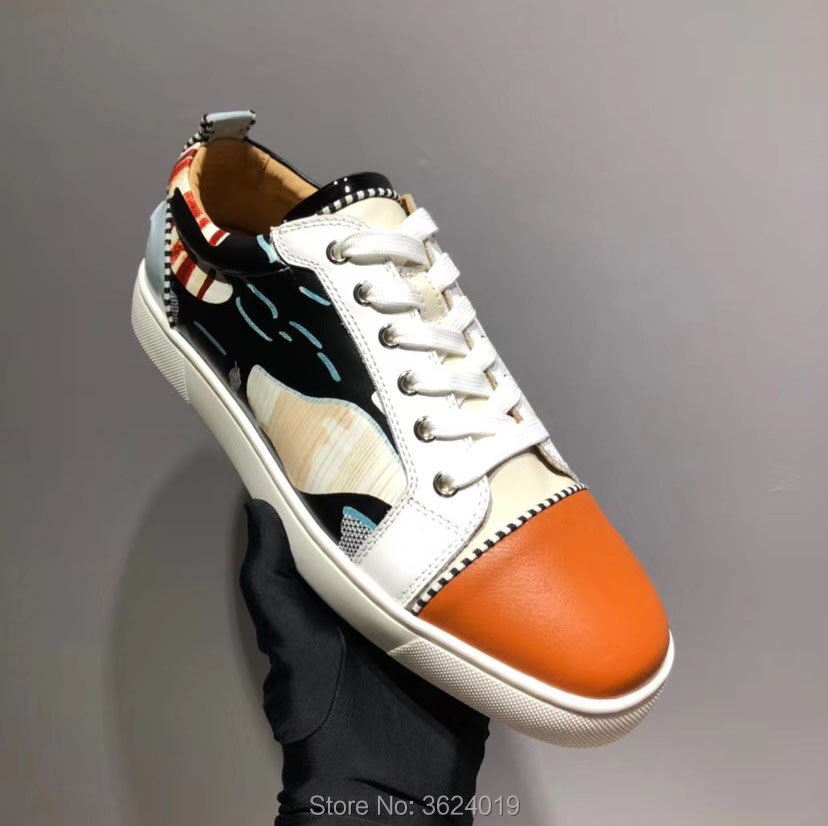 b5566bec51e Low Cut cl andgz colorful leather Lace Up grosgrain braid Rivets Red bottoms  For Man Shoes