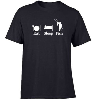 2019 New Arrive O-Neck T-Shirt Free shipping Men Fish Boat Sea Carp Eat Sleep T Shirt Order - discount item  5% OFF Tops & Tees
