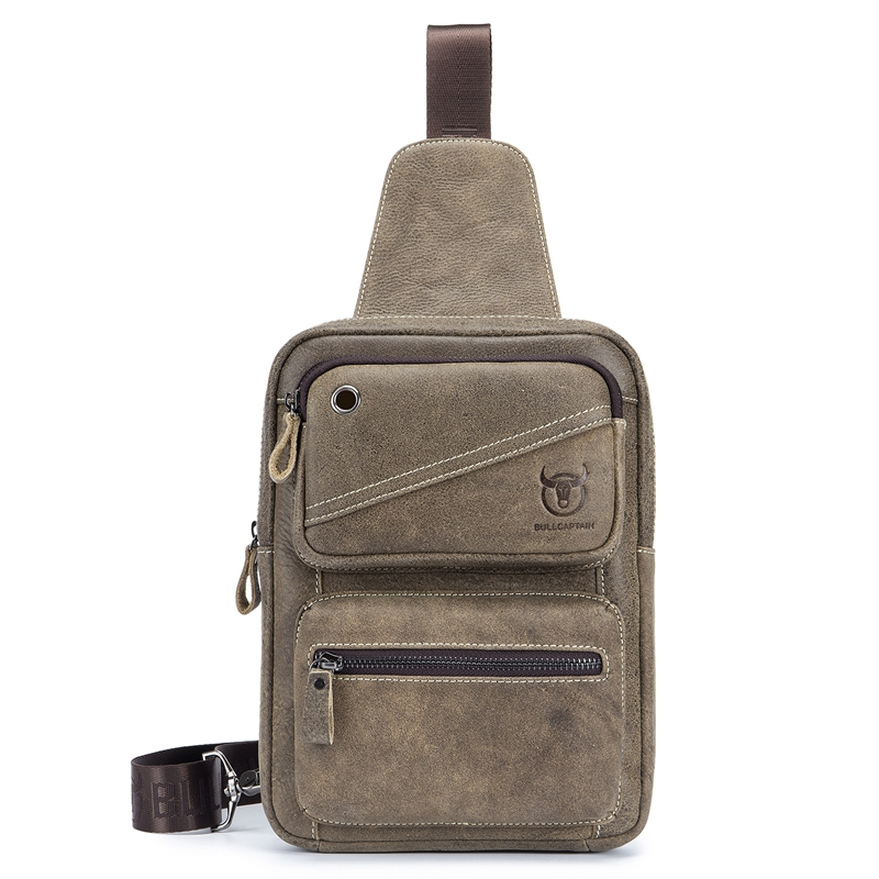 BULLCAPTAIN Men Genuine Leather Casual Vintage Crossbody Bag Chest Bag For 10.5 Inch Ipad Pro Light Coffee