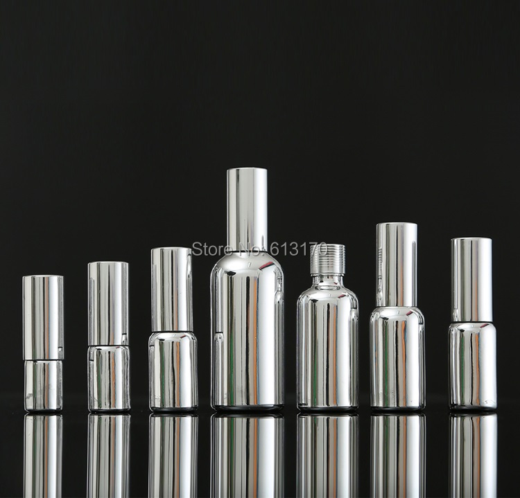 10ml,15ml,20ml,30ML,50ml,<font><b>100ml</b></font> Silver <font><b>spray</b></font> <font><b>bottle</b></font>,Lotion pump <font><b>bottle</b></font>,Empty diy <font><b>glass</b></font> vials Essential oil <font><b>bottle</b></font> free shipping image