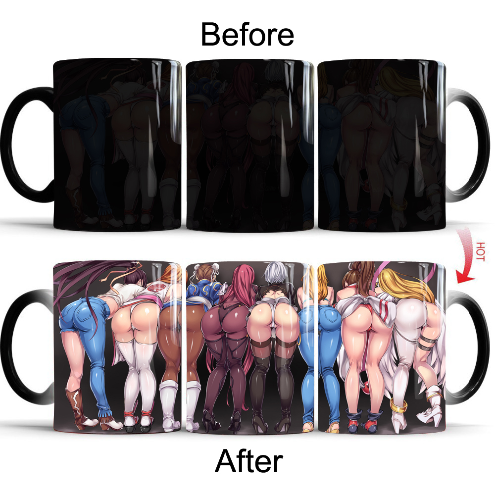 Сексуальная Анальная кружка Аниме игра Кофе Чай Термочувствительная кружка меняющая цвет волшебная кружка лучший подарок для ваших друзей
