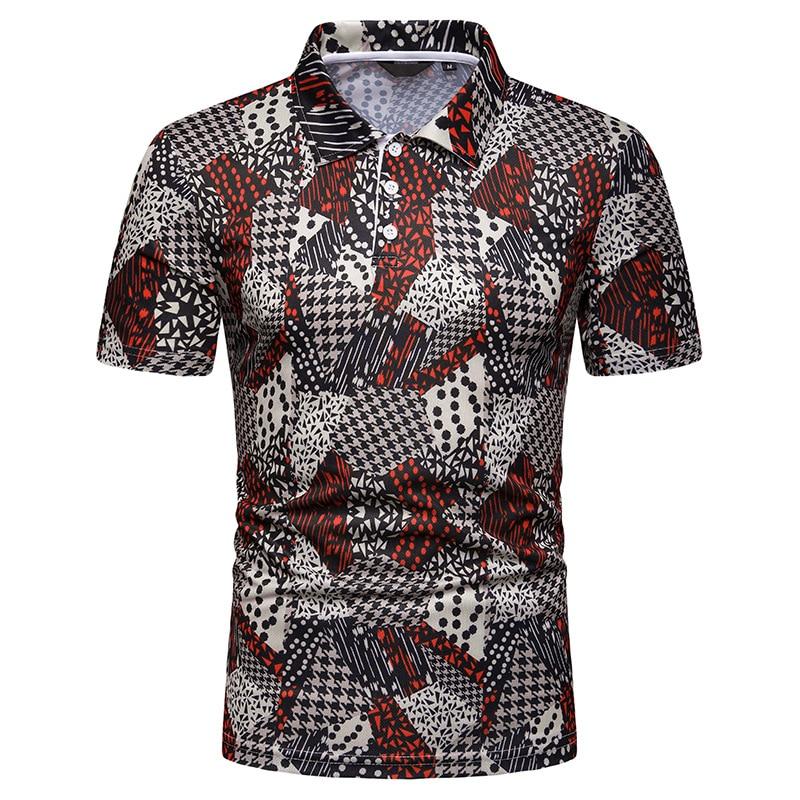 2019 New Summer Men's National Style Print Short Sleeve Men's   POLO   Shirt