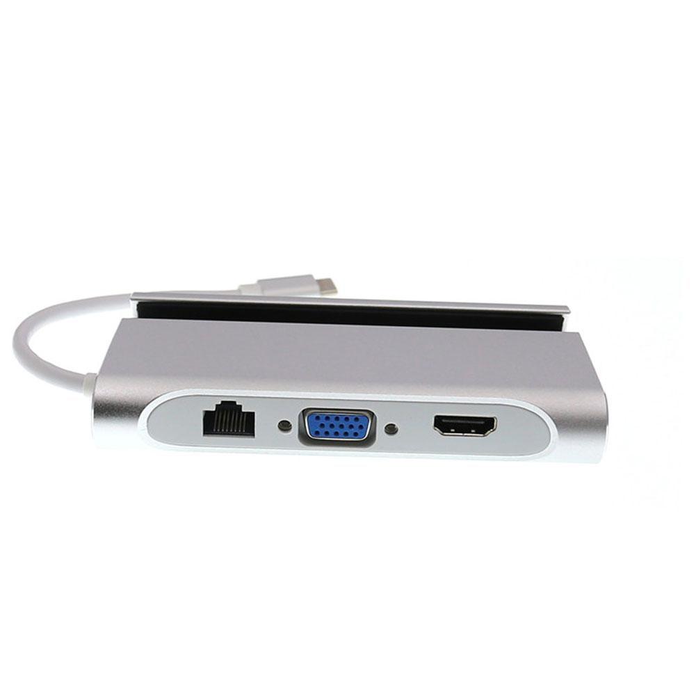 7 en 1 USB-C HDMI VGA Rj45 Ethernet USB 3.0 Port Type C Adaptateur support pour téléphone Moyeu