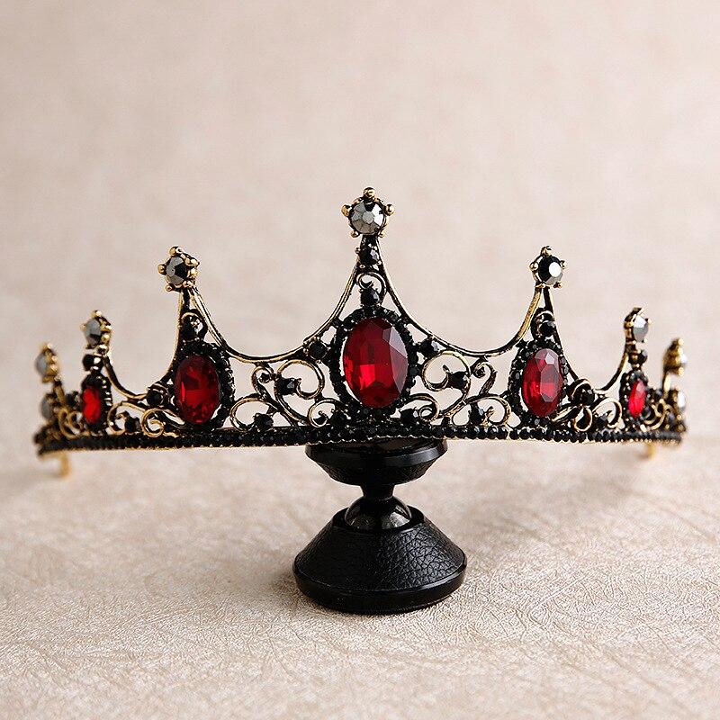 Bride Headdress Crown Wedding-Tiara Flower-Girl Retro Baroque New Black
