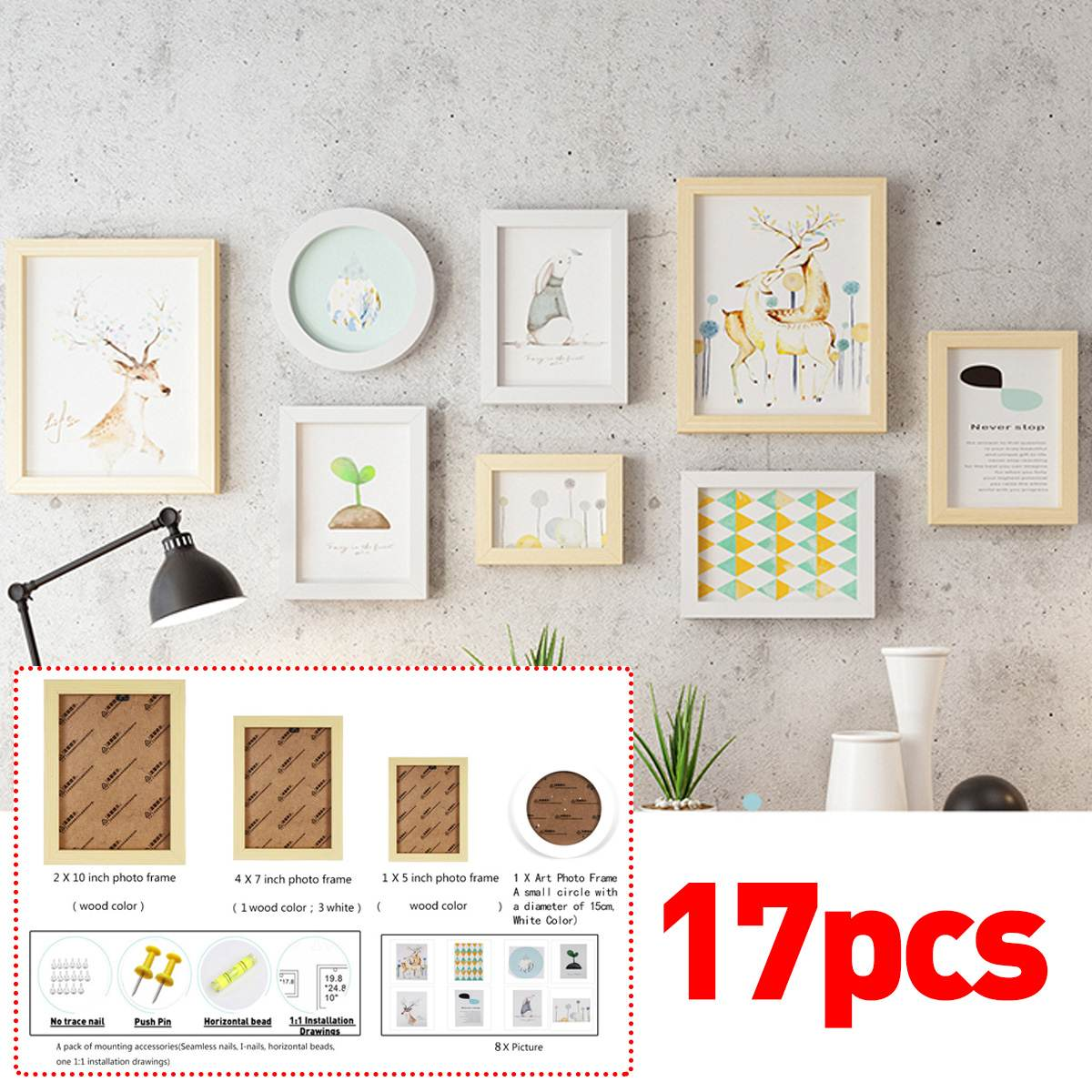 17 pièces tenture murale Photo cadre ensemble famille image affichage moderne Art décor à la maison pour couloir chambre salon mur décoration