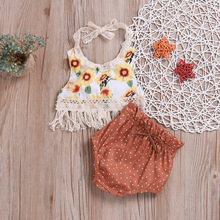 Summer Baby Girls Clothing Newborn Infant Set Floral Baby Set Backless Girl Shirt + Shorts 2PCS Kids Suit