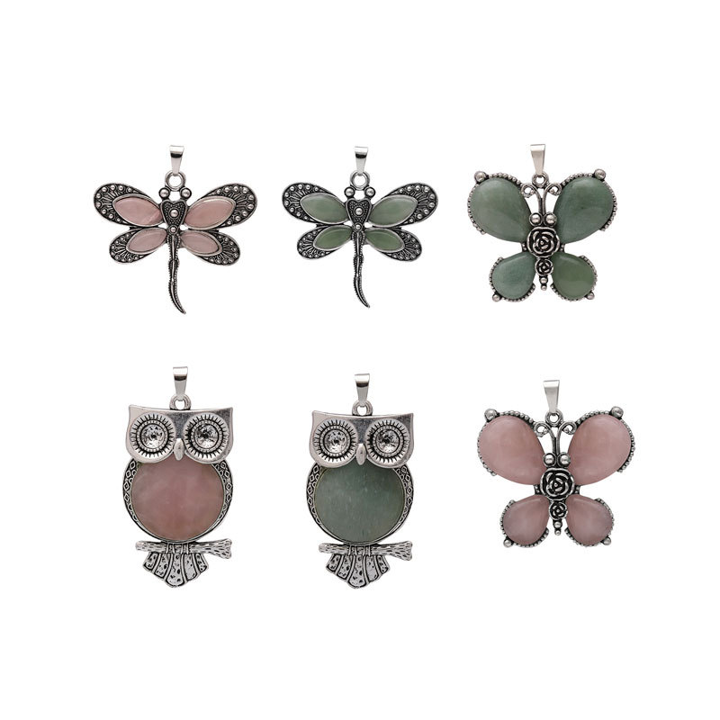 New Women Real Natural Rose Stone 3d Owl Butterfly Dragonfly Pendant Quartz Malachite Stone Pendant For Necklace Jewelry