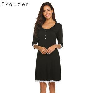 Image 2 - Ekouaer כתונת לילה אביב קיץ הלבשת שמלת כותונת האופנה נשים V צוואר יולדות שלושה שרוול רבעון כפתור Nightwear