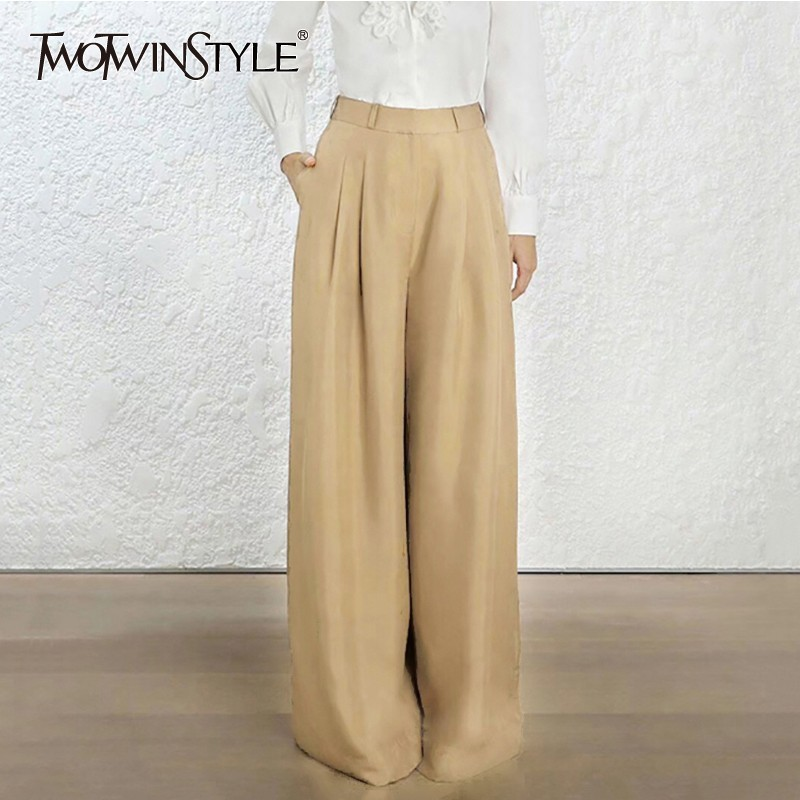 TWOTWINSTYLE Casual Khaki Trousers For Women High Waist Solid   Wide     Leg     Pants   Female Oversized Fashion 2019 Spring Clothes New