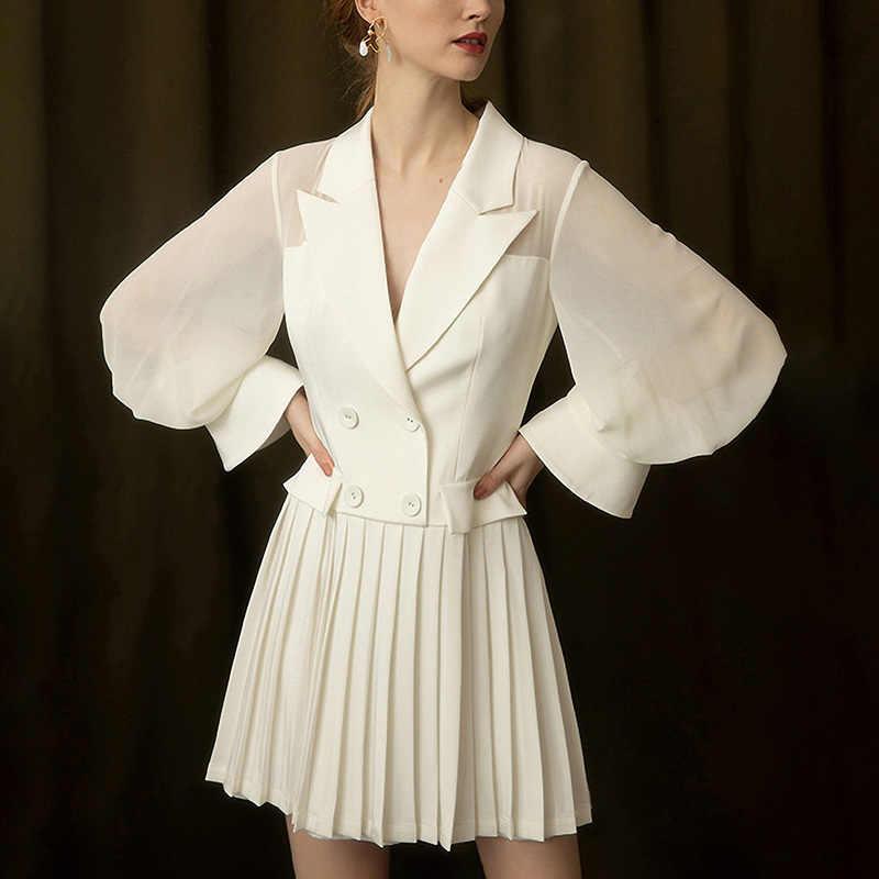 LANMREM 2019 весна лето новый белый костюм воротник двубортный с длинными рукавами плиссированный подол темперамент шифоновые платья WF31100