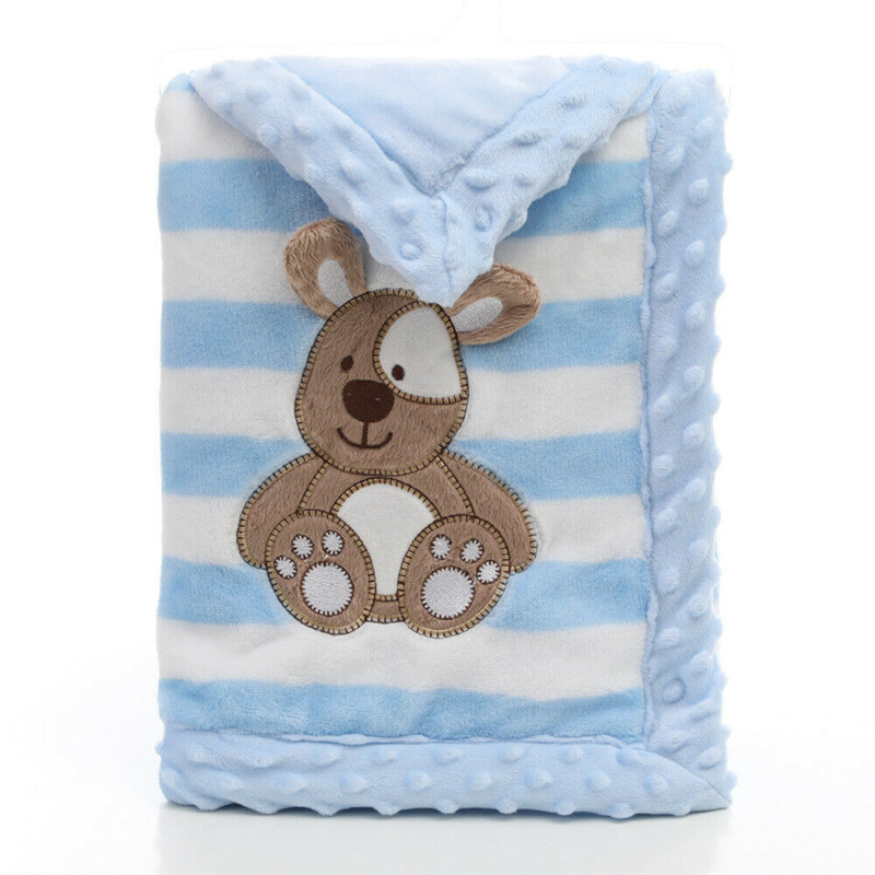 PUDCOCO Cute Baby Kids Rabbit Flannel Blanket Bedding Quilt Soft Play Blanket Bear Double Dotted Backing Towel Wrap in Receiving Blankets from Mother Kids