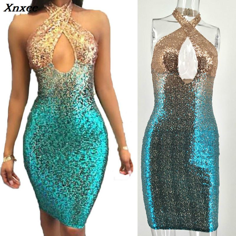 Halter Sparkly Sequin Dress Women Strapless Sleeveless Hollow out Glitter Bodycon Summer Night Party Sexy Club Dresses