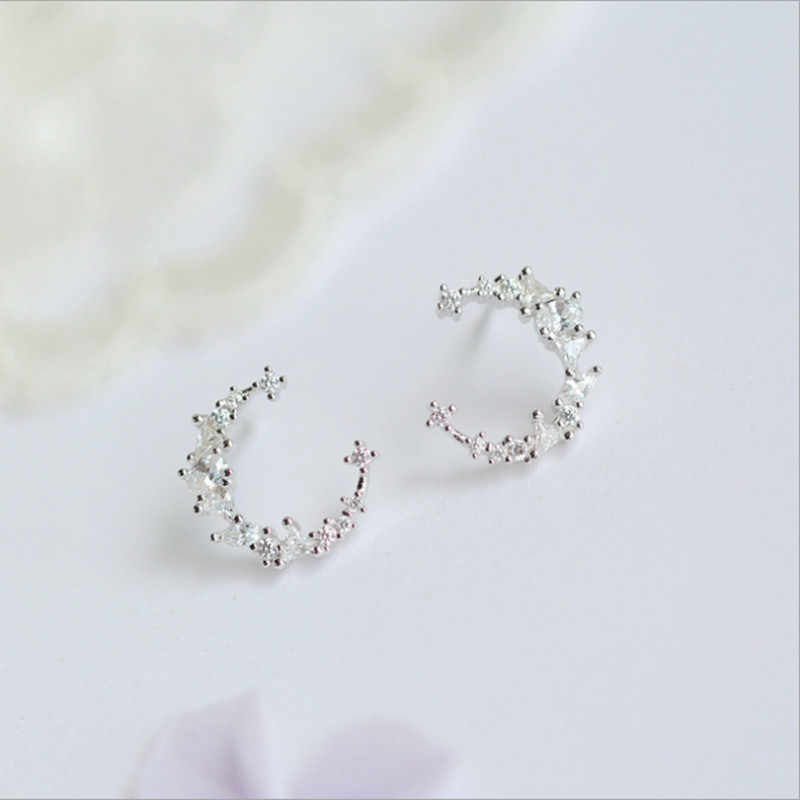Anting-Anting Pendientes Mewah Colorful Crescent Nyata Murni 925 Sterling Perhiasan Cubic Zirconia Anting-Anting Fashion Wanita Favorit