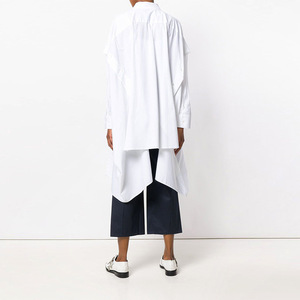 Image 4 - [EAM] 2020 New Spring Lapel Long Sleeve Black Irregular Hem Button Split Joint Loose Big Size Shirt Women Bouse Fashion JG725