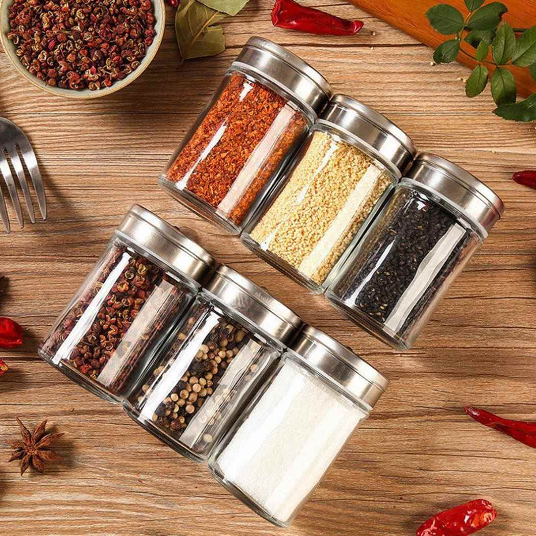 Kitchen Gadgets Spice Bottle Seasoning Box Kitchen Spice Storage Bottle Jars Transparent PP Salt Pepper Cumin Powder Box Set