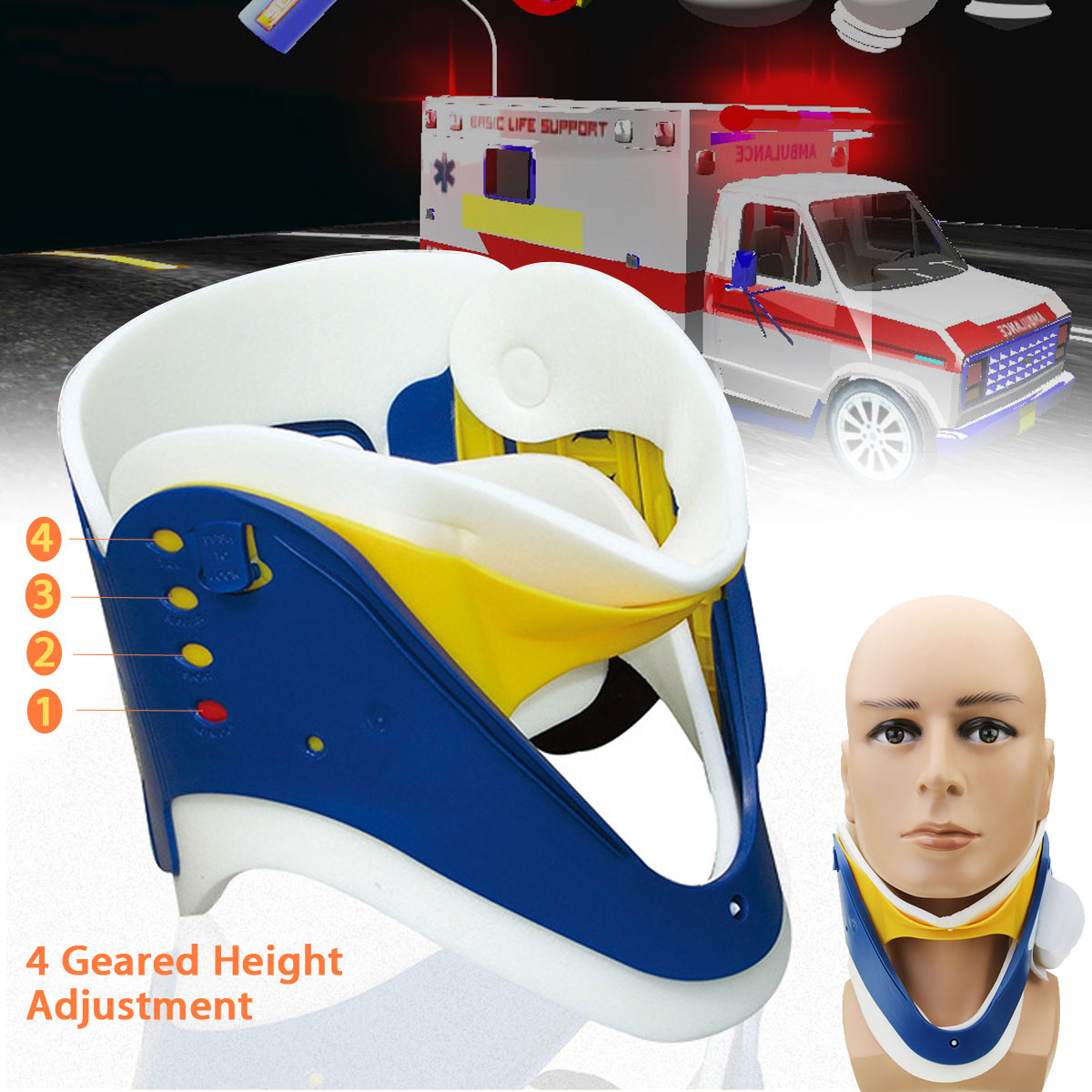 KIFIT Medical Neck Collar Breathable Cervical Neck Traction Support Brace Adjustable Strecher Therapy Tractor Orthosis Braces(China)