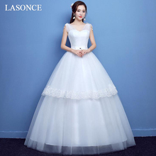 LASONCE Pleat V Neck Bow Sash Tiered Tulle Ball Gown Wedding Dresses Lace Appliques Tank Backless Bridal Dress все цены