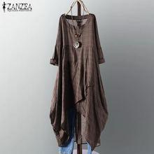 Женское клетчатое платье zanzea 2021 летний хлопковый льняной