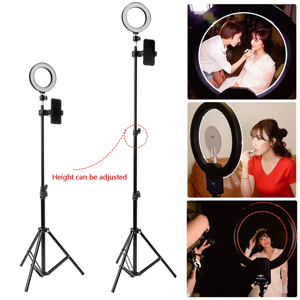 5500K LED Ring Lamp 16cm Dimmable Light Stand Kit Phone Photo Selfie Video Makeup Live Photographic 160cm Tripod Phone Holder