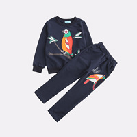 Cross Border for INS Hot Selling Children's Clothing Girls Bird Leisure Trousers Sweatshirt Set