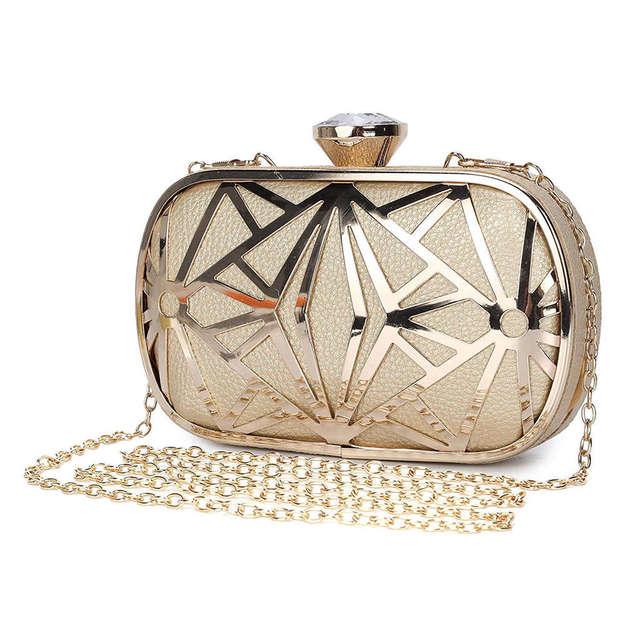 ผู้หญิงกระเป๋าประณีตหนังกระเป๋าถือโลหะHollow Designerงานแต่งงานกระเป๋าถือคลัทช์