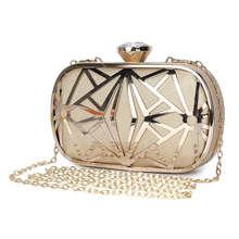 Women Evening Bags Exquisite Leather Handbag Metal Hollow Designer Wedding Party Clutch Purse