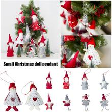 Christmas Cloth Doll Pendant Mini Wooden Tree Cute Ornament Home Decor