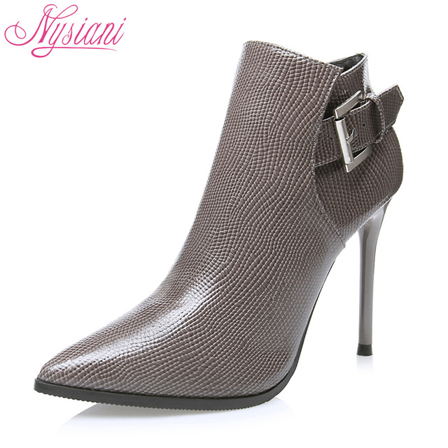 Autumn Fashion High Heels Ankle Boots Woman 2018 Brand Designer Winter Buckle Female Sexy Pointed Toe Thin Heels Boots Nysiani