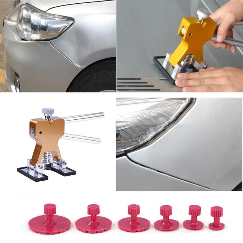 10 piezas de herramientas de reparación del coche cuerpo sin pintura de La abolladura accesorios Herramientas PDR para el coche, herramienta de eliminación de abolladuras, Kit de reparación de abolladuras, equipo de extracción de pegamento de martillo inverso, Ventosas para granizo