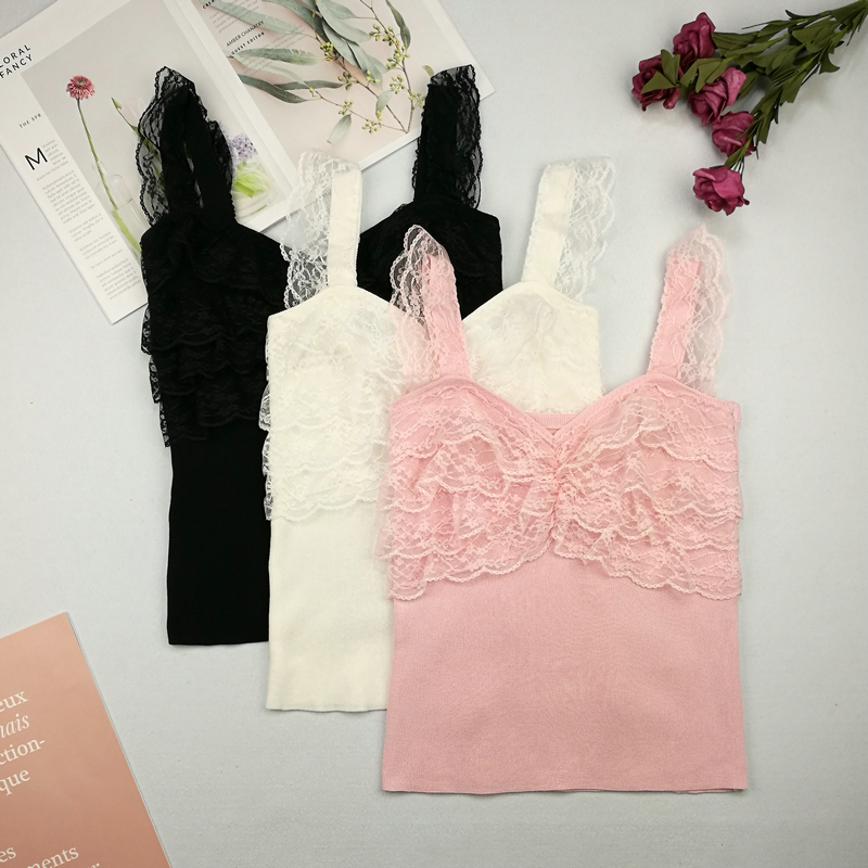 Patchwork Sweet Lace Knit Camisole Tops Girls All-Match Thin Sweater Tanks Woman FL1274